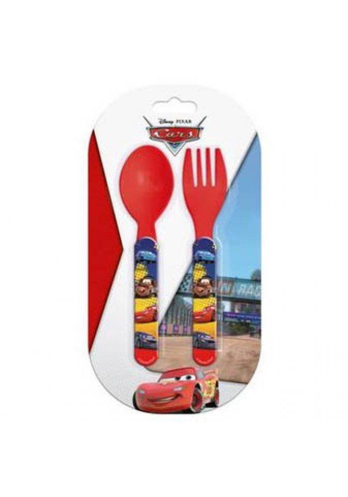 Set lingurita si furculita plastic Cars